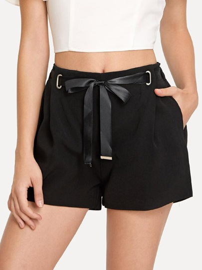 Plain Lace-Up Bow Tie Pocket Women's Shorts
