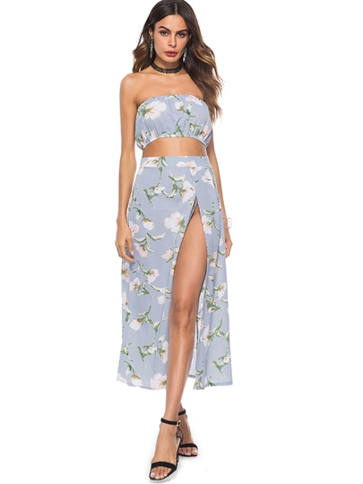 Floral Print Off Shoulder Crop Top with Skirt Women's Two Piece Suit