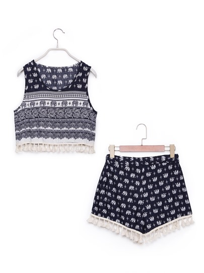 Print Sleeveless Tassel Top with Shorts Women's Two Piece Set