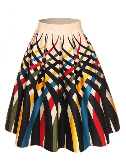 Print High Waist Pleated Women's Skirt