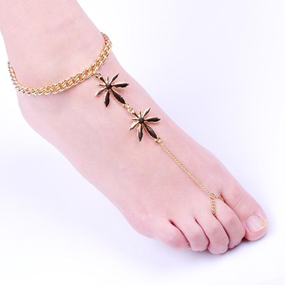 Simple Leaves Alloy Anklet