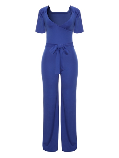 Plain V-Neck Lace-Up Women's Jumpsuit