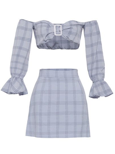 Off Shoulder Gingham Crop Top with Skirt Women's Two Piece Dress