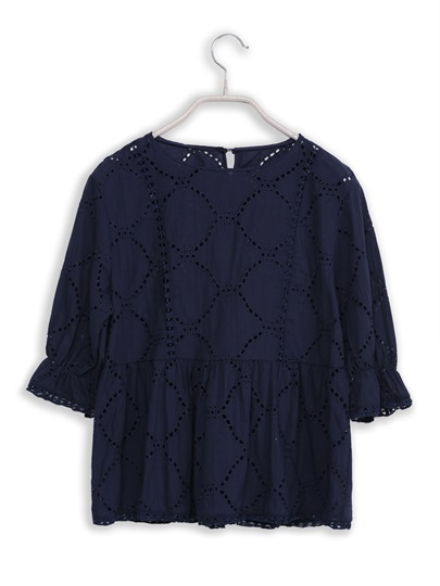 Frilled Hollow Pullover Women's Blouse