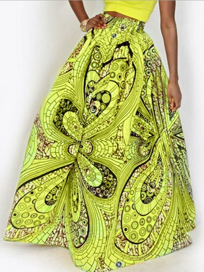 Dashiki Floral Pleated High Wasit Women's Ball Gown Skirt