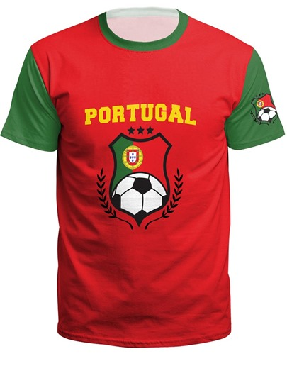 World Cup Color Block Loose Women's T-Shirt
