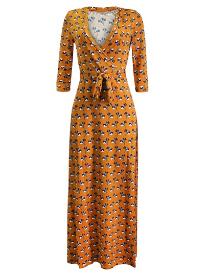 V-Neck Prints Floor-Length Belt Waist Maxi Dress