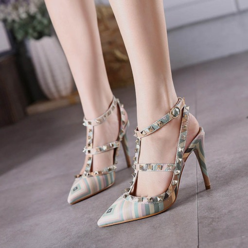 Rivet Buckle Pointed Toe Shoes Women's Punk Pumps