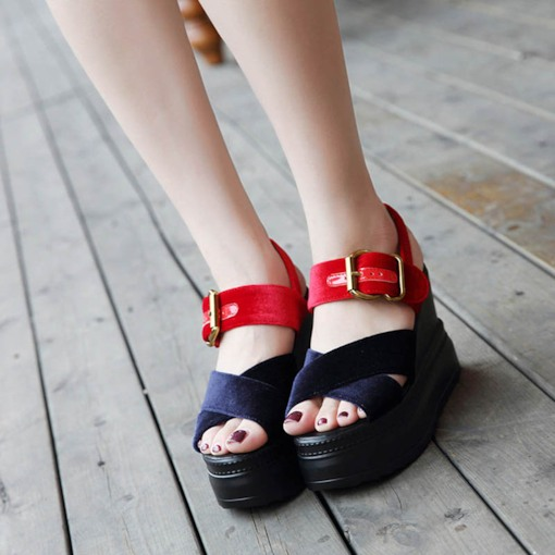 Color Block Velvet Women's Chic Sandals Wedge Shoes