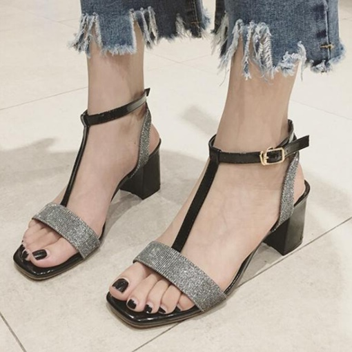 Sequins T-Shaped Buckle Chunky Heel Women's Sandals