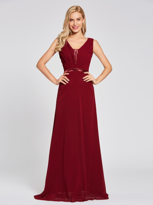 V Neck Sequins A Line Evening Dress
