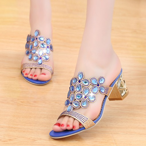 Chunky High Heel Slip-On Rhinestone Open Toe Women's Sandals