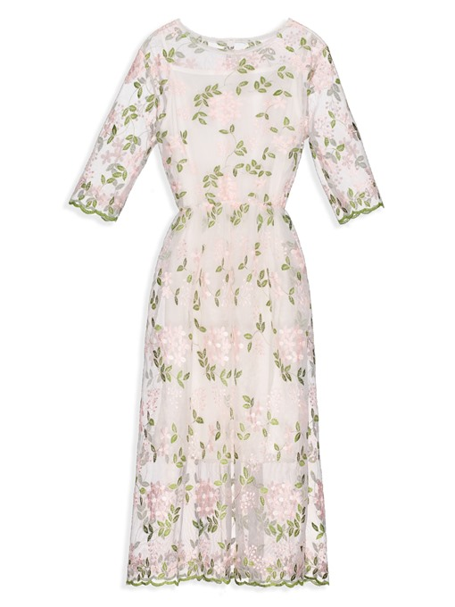 Sweet Round Neck Embroidery A-Line Dress