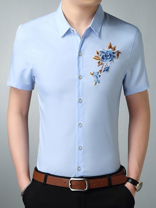 Plus-Size Embroidery Summer Men's Shirt