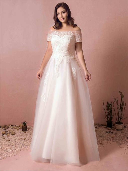 Off the Shoulder Lace Appliques Plus Size Wedding Dress