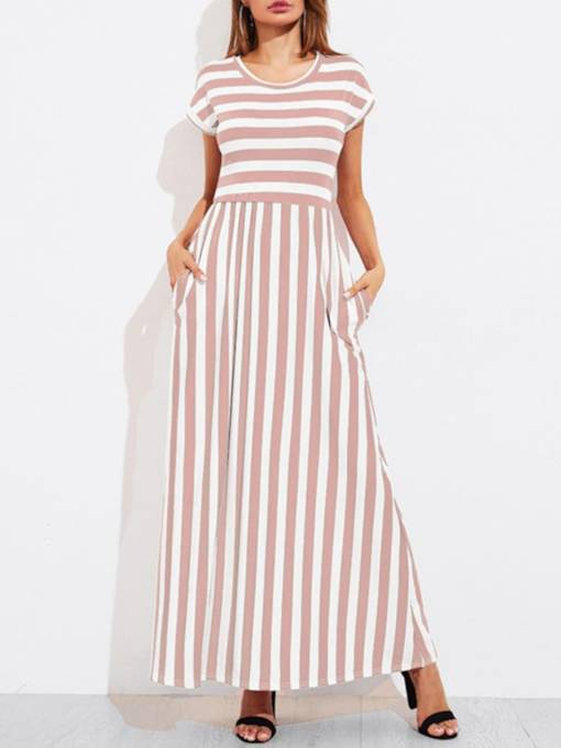 Cap Sleeve Striped Pockets Women's Maxi Dress
