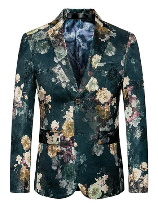 Floral Print One Button Leisure Men's Blazer