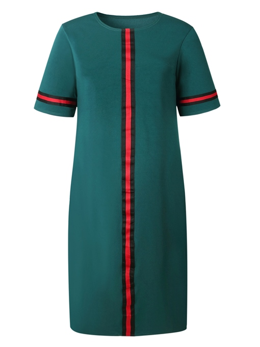Green Half Sleeve Loose Women's Maxi Dress