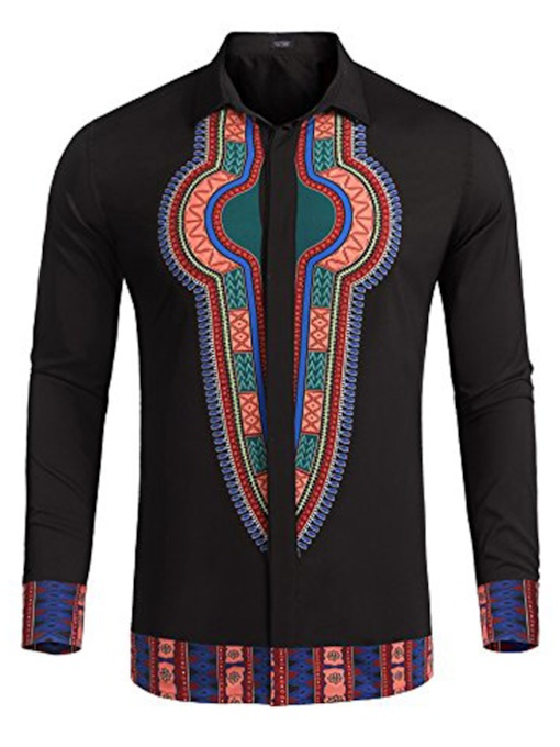Lapel African Dashiki Button Down Men's Shirt