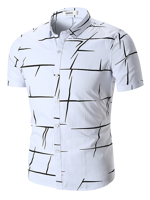 Lapel Irregular Stripe Loose Men's Shirt