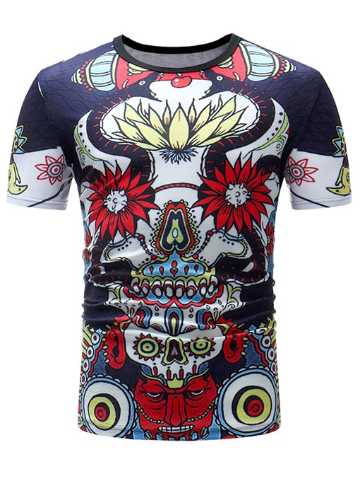 Round Collar Ethnic Print Thin Men's T-Shirt