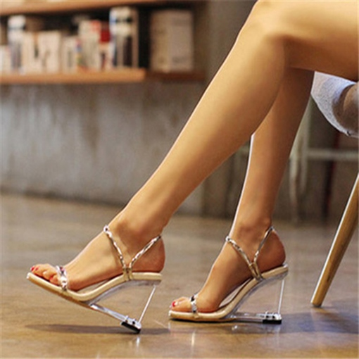 Dual-use Shoes Perspex Wedge Heel Women's Sandals