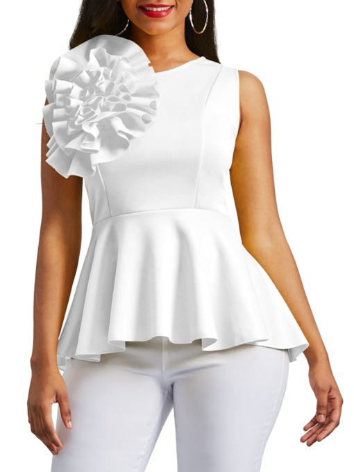 Applique Peplum Zipper Up Sleeveless Women's Blouse