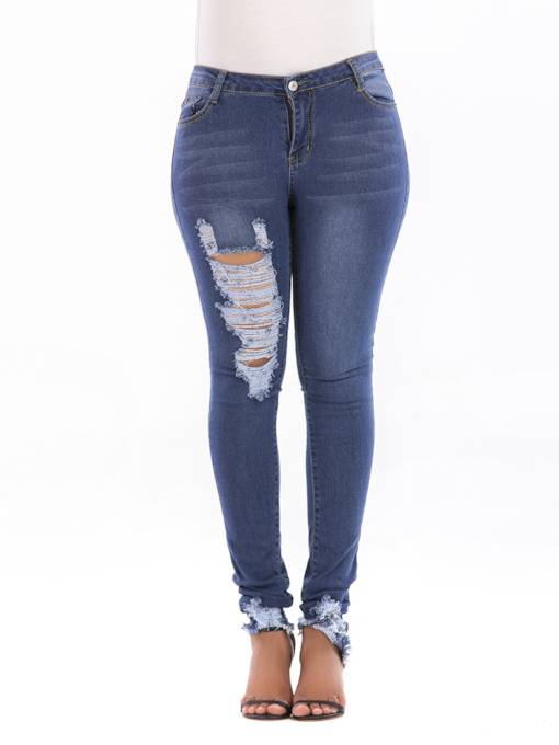 Asymmetric Hole High Waist Slim Fit Women's Jeans