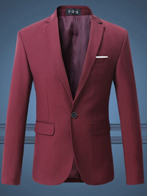 Notched Collar Plain Solid Color Men's Blazer