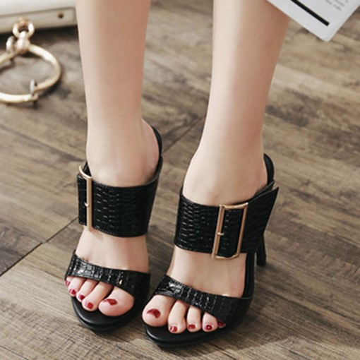 Platform High Heel Sandals Women's Plain Slippers