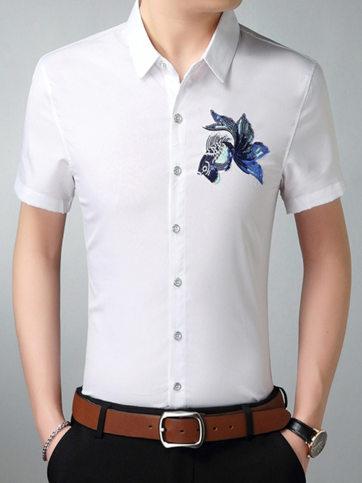 Plus-Size Lapel Embroidery Thin Men's T-Shirt