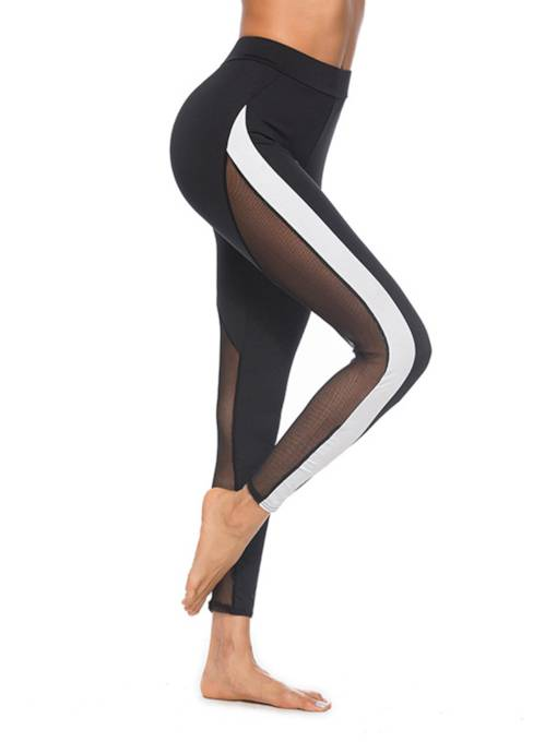 Casual Pacthwork See Through Women's Leggings
