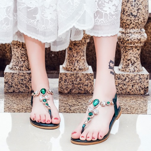 Strappy Elastic Band Rhinestone Casual Women's Sandals