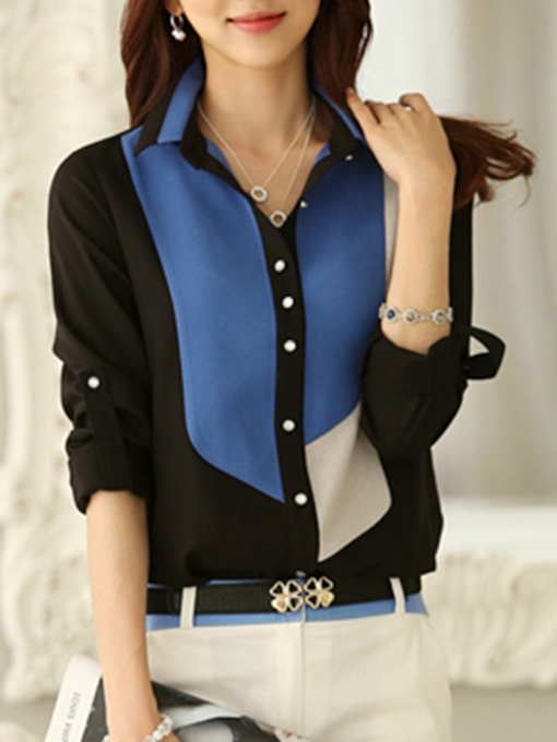Color Block Lapel Single-Breasted Women's Shirt