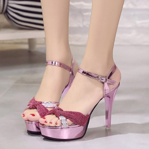 Lures Metallic Shoes Buckle High Heel Sandals for Women