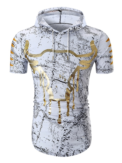 Hooded Ethnic Cow Slim Men's T-Shirt
