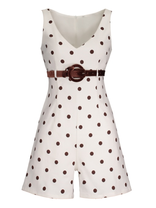 Belt Polka Dots Shorts Wide Legs Women's Jumpsuit