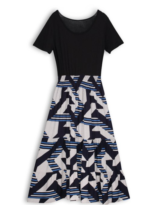 Fashion Geometric Color Block A-Line Dress