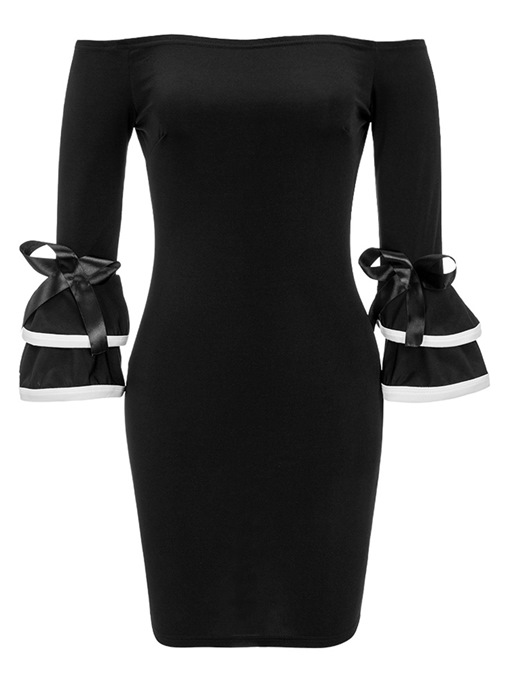 Black off Shoulder Bell Sleeve Women's Party Dress