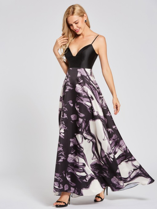 Spaghetti Straps Printed A Line Evening Dress