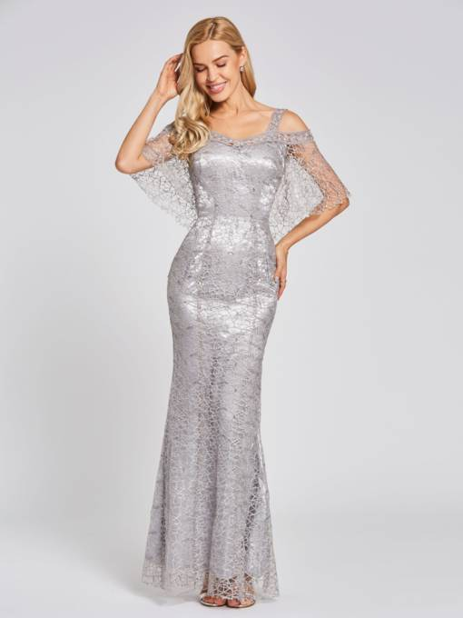 Straps Lace Trumpet Floor-Length Evening Dress