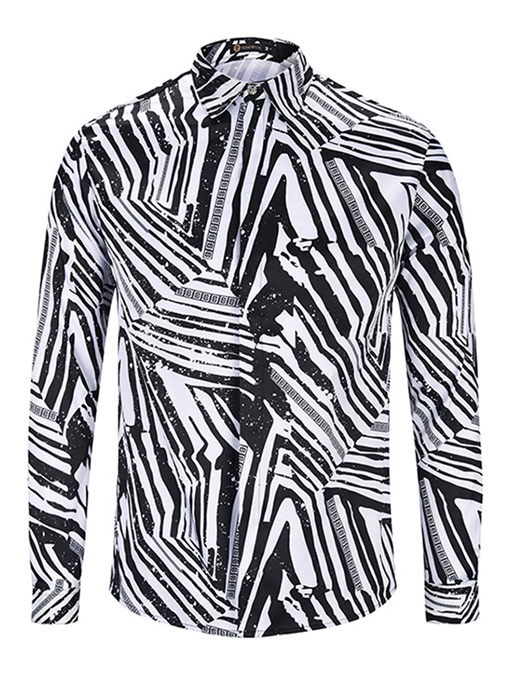 Square Collar Black and White Stripe Men's Shirt