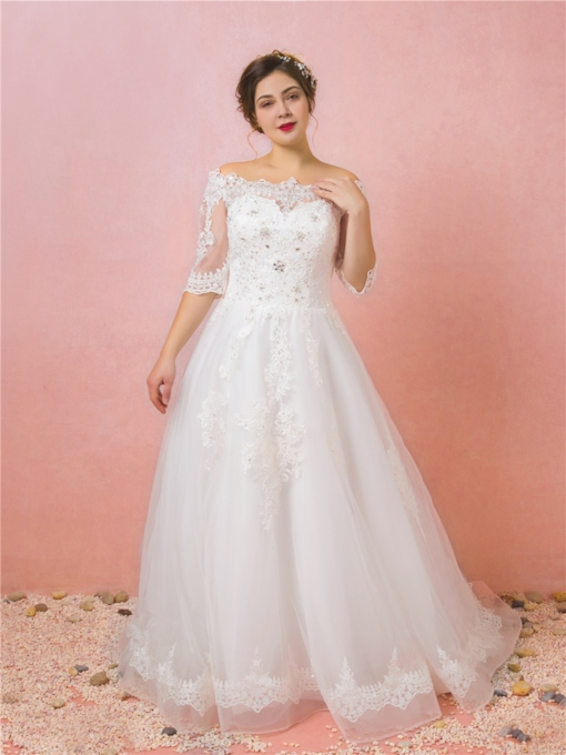 Half Sleeve Off the Shoulder Appliques Plus Size Wedding Dress