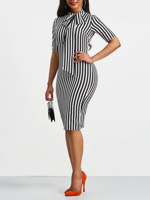 Stripe Bowknot Half Sleeve Bodycon Sleeve