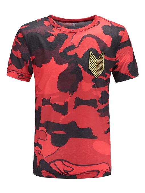Camouflage Straight Embroidered Men's Scoop T-Shirt