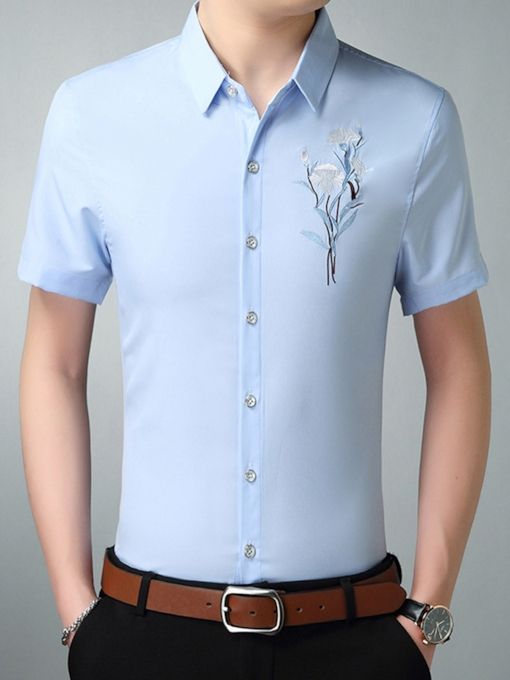 Plus-Size Lapel Embroidery Plain Men's Shirt