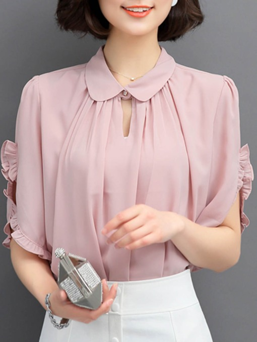 Peter Pan Collar Short Sleeve Women's Blouse
