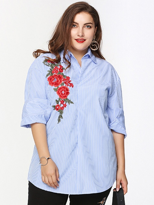 Plus Size Stripe Floral Embroidery Women's Shirt