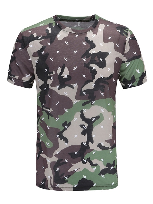 Camouflage Army Green Straight Men's Scoop T-Shirt