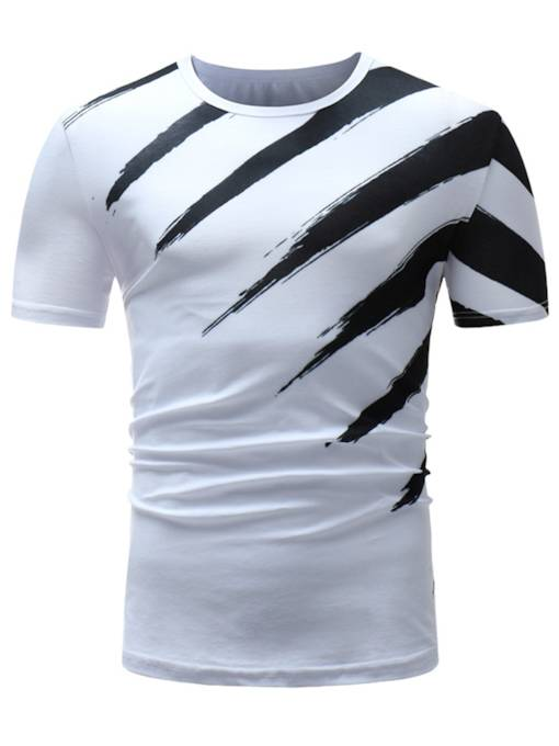Stripe Plain Thin Men's Summer T-Shirt